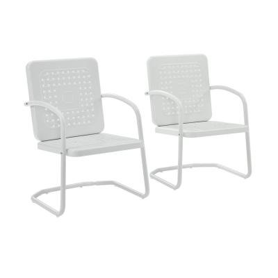 Bates White Metal Outdoor Lounge Chair