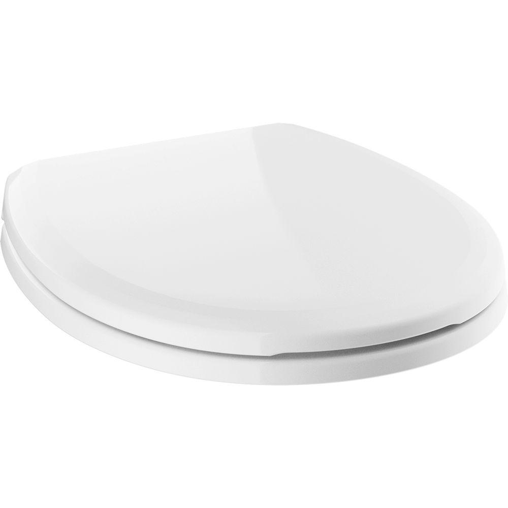 Sanborne Slow-Close Round Closed Front Toilet Seat with NoSlip Bumpers in