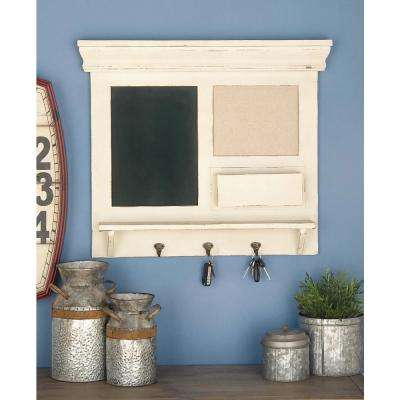 24 in. x 28 in. Wood and Metal Wall Shelf in Matte White