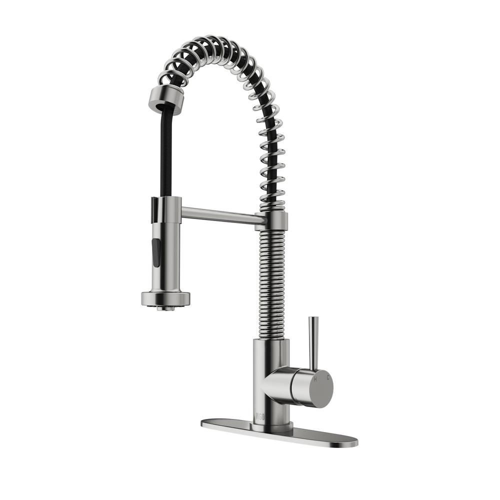 Vigo Stainless Steel Pull Down Spray Kitchen Faucet With Deck Plate