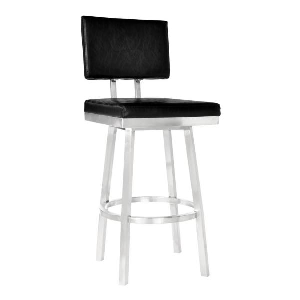 Armen Living Balboa 30 in. Black Swivel Bar Stool LCBBBABSVB30