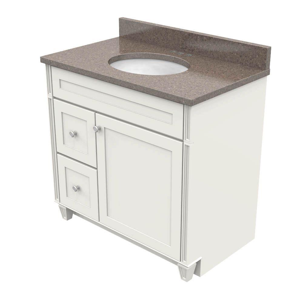 kraftmaid bathroom vanity cabinets kraftmaid 36 in vanity in dove white with quartz 22378