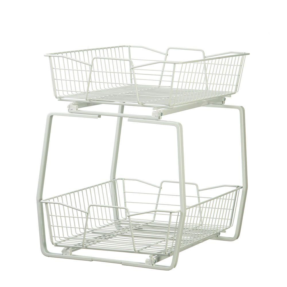 Charmant W 2 Tier Ventilated Wire Sliding Cabinet Organizer In White