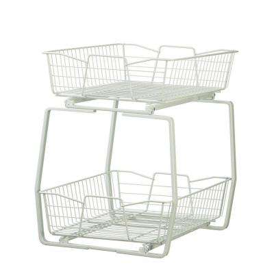 14 in. W 2-Tier Ventilated Wire Sliding Cabinet Organizer in White