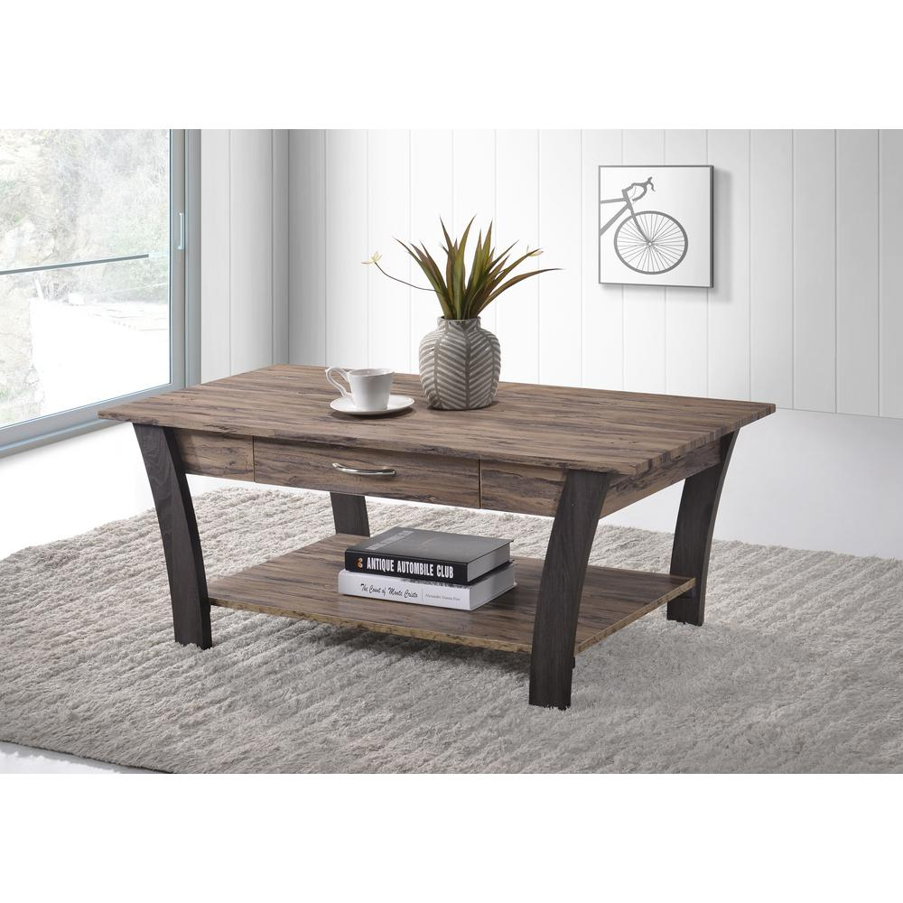 Ottomanson Zag Light Brown Dark Gray Coffee Table With Storage Ct300 The Home Depot