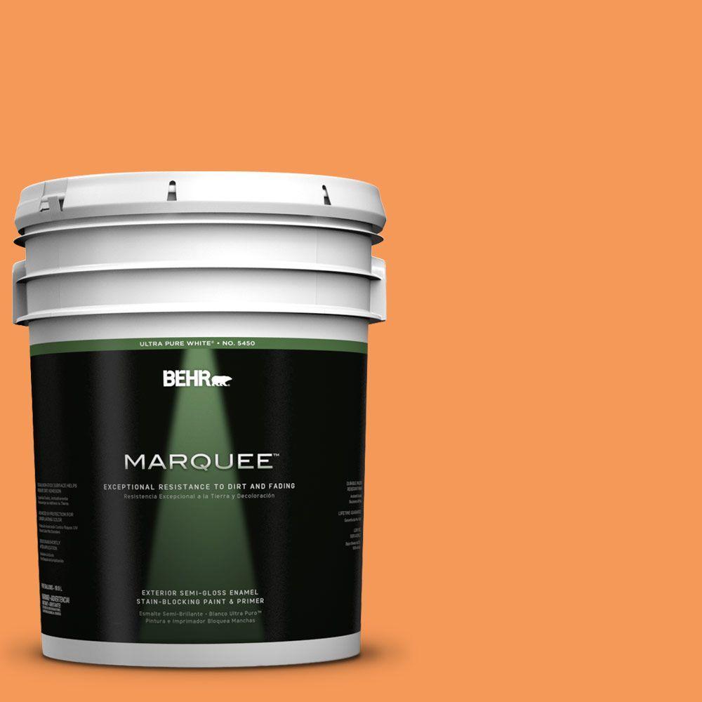 BEHR MARQUEE 5-gal. #260B-6 Blaze Orange Semi-Gloss Enamel Exterior Paint