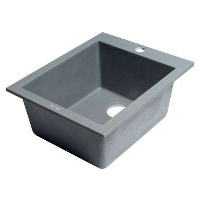 Drop-In Granite Composite 16.13 in. 1-Hole Single Bowl Kitchen Sink in Titanium
