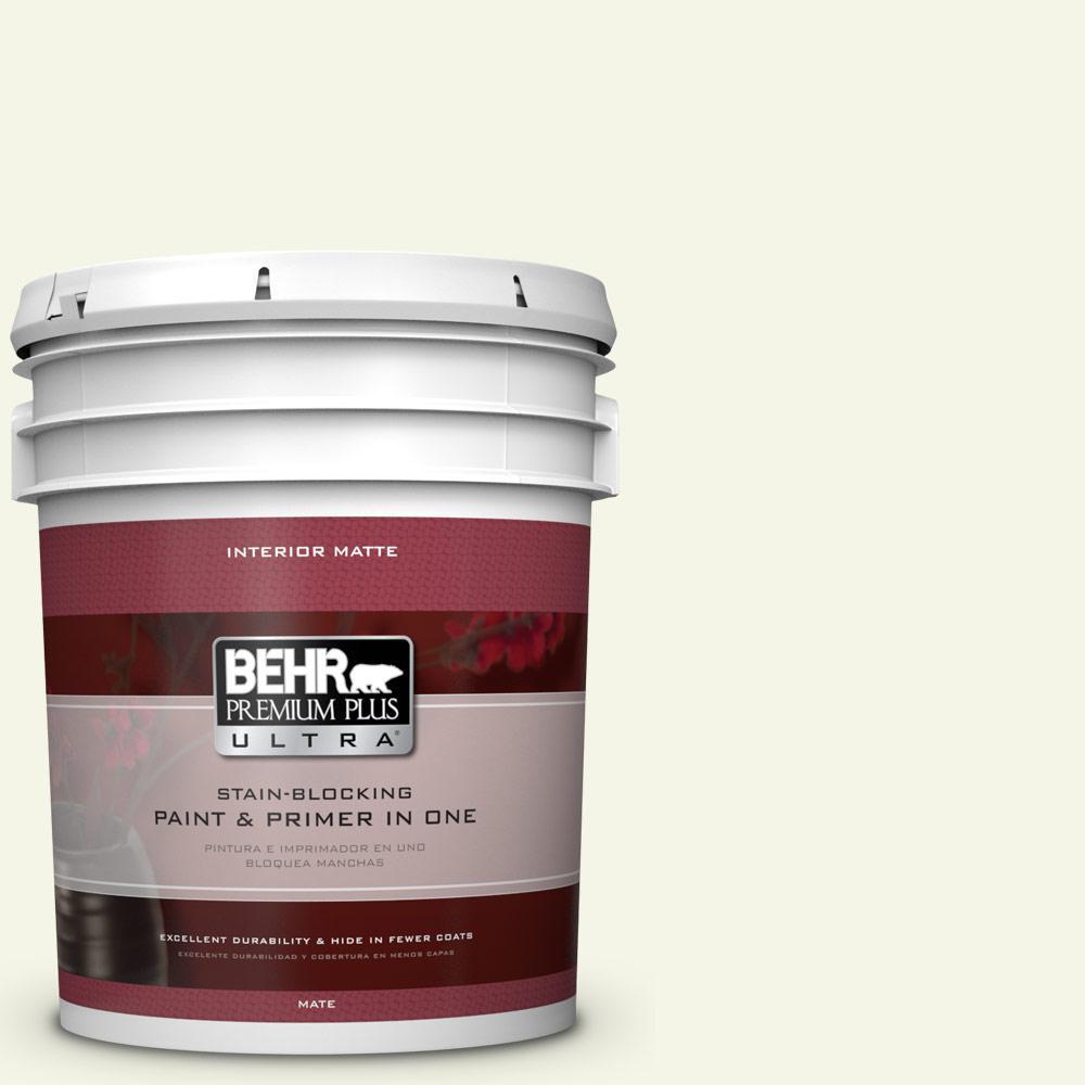 BEHR Premium Plus Ultra 5 gal. #GR-W4 Precious Dewdrop Matte Interior Paint