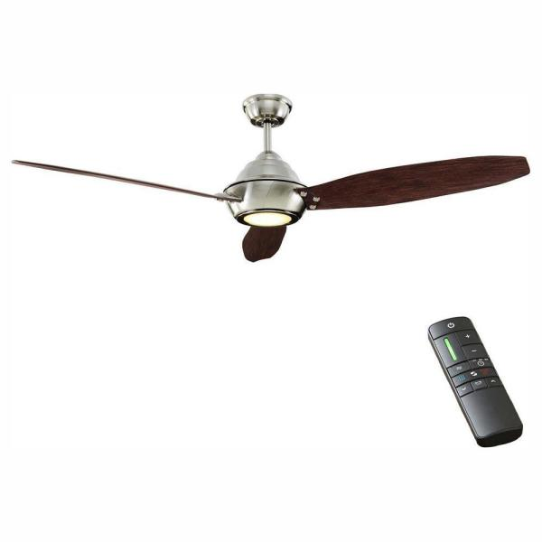 Aero Breeze 60 in. Integrated LED Indoor/Outdoor Brushed Nickel Ceiling Fan with Light Kit and Remote Control