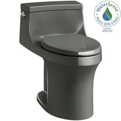 San Souci 1-piece 1.28 GPF Single Flush Elongated Toilet in Thunder Grey