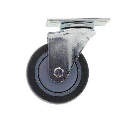 4 in. Medium Duty Gray TPR Swivel Plate Caster with 250 lbs. Weight Rating