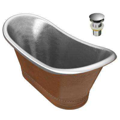 Ionian 67 in. Handmade Copper Double Slipper Flatbottom Non-Whirlpool Bathtub in Hammered Antique Copper