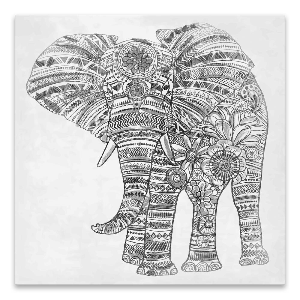 """Elephant Walk BW""  by Lot26 Studio Printed Canvas Wall Art"