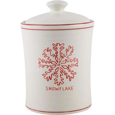 9 in. H Snowflake Canister with Lid