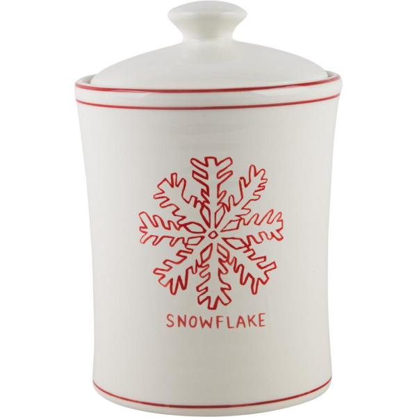 9 in  H Snowflake Canister with Lid