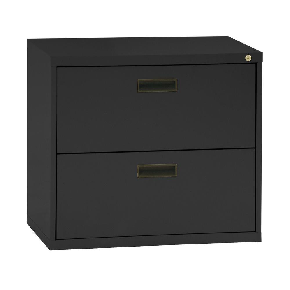 Sandusky 400 Series 26.6 in. H x 30 in. W x 18 in. D 2-Drawer Black Lateral File Cabinet