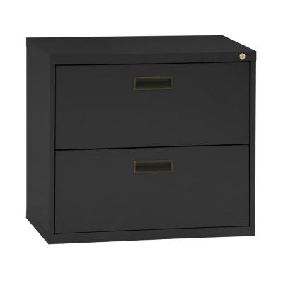 400 Series 26.6 in. H x 30 in. W x 18 in. D 2-Drawer Black Lateral File Cabinet