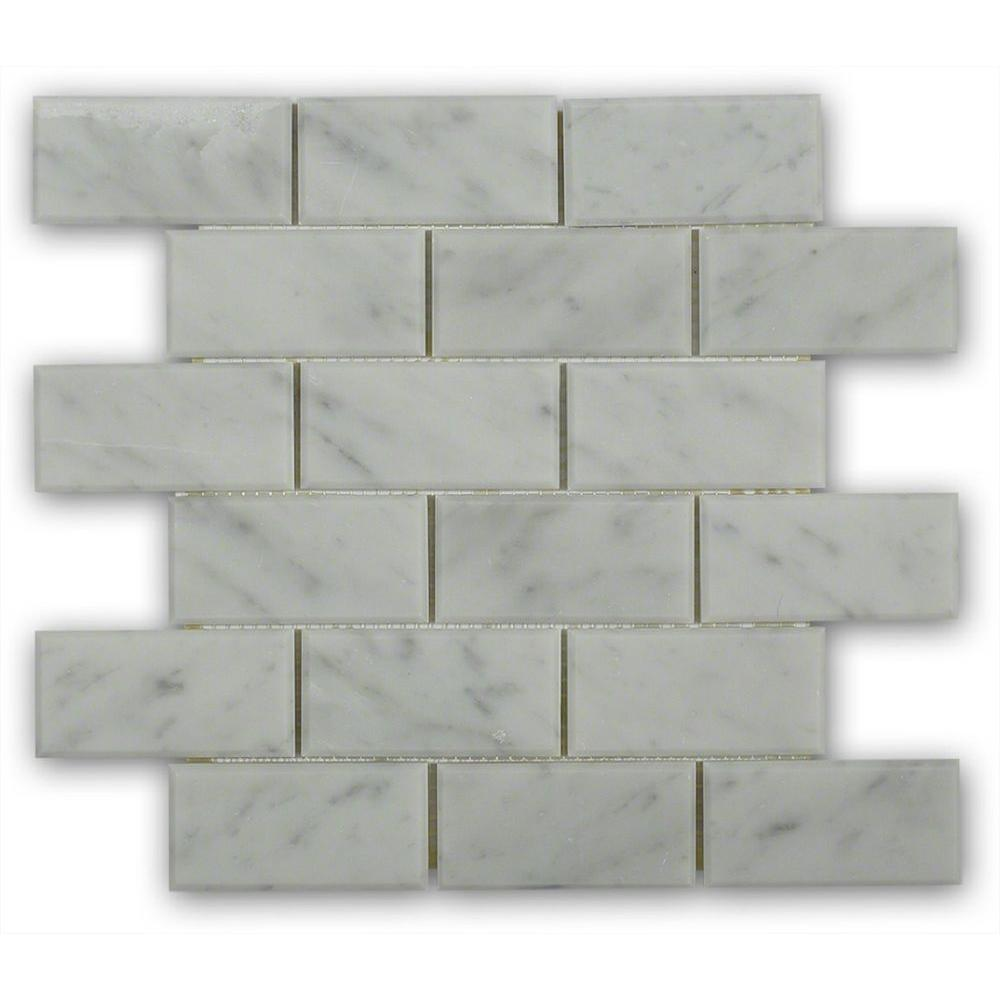 Splashback tile beveled white carrera 12 in x 12 in x 8 mm splashback tile beveled white carrera 12 in x 12 in x 8 mm marble mosaic floor and wall tile whitecarrera2x4bev the home depot dailygadgetfo Gallery
