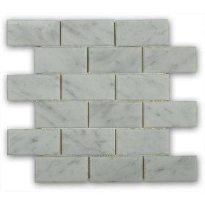 Beveled White Carrera 12 in. x 12 in. x 8 mm Marble Mosaic Floor and Wall Tile