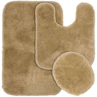 Finest Luxury Taupe 21 in. x 34 in. Washable Bathroom 3-Piece Rug Set