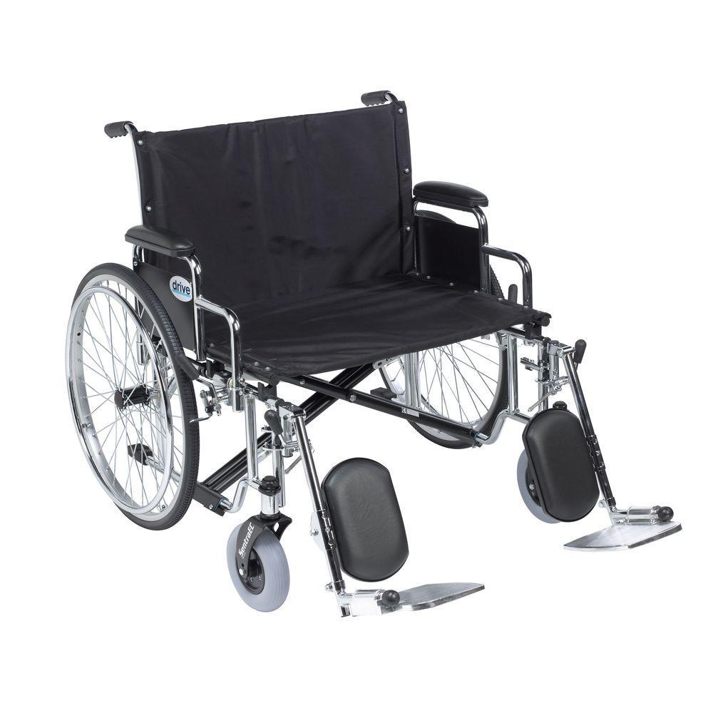 Sentra EC Heavy Duty Extra Wide Wheelchair, Detachable Desk Arms, Elevating