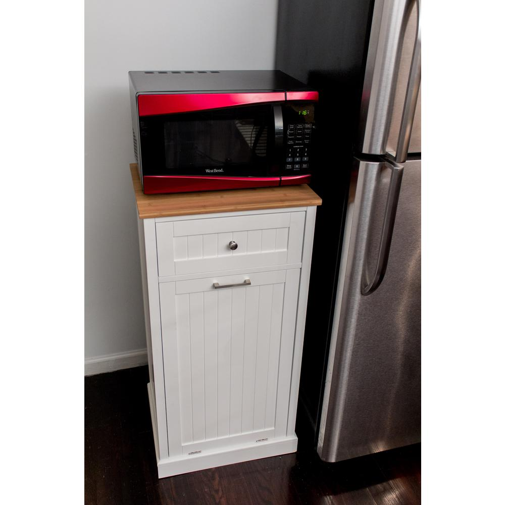 W Microwave Kitchen Cart With Hideaway Trash Can Holder In White