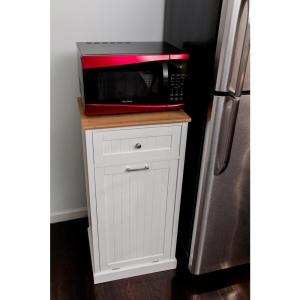 23.3 inch W Microwave Kitchen Cart with Hideaway Trash Can Holder in White by