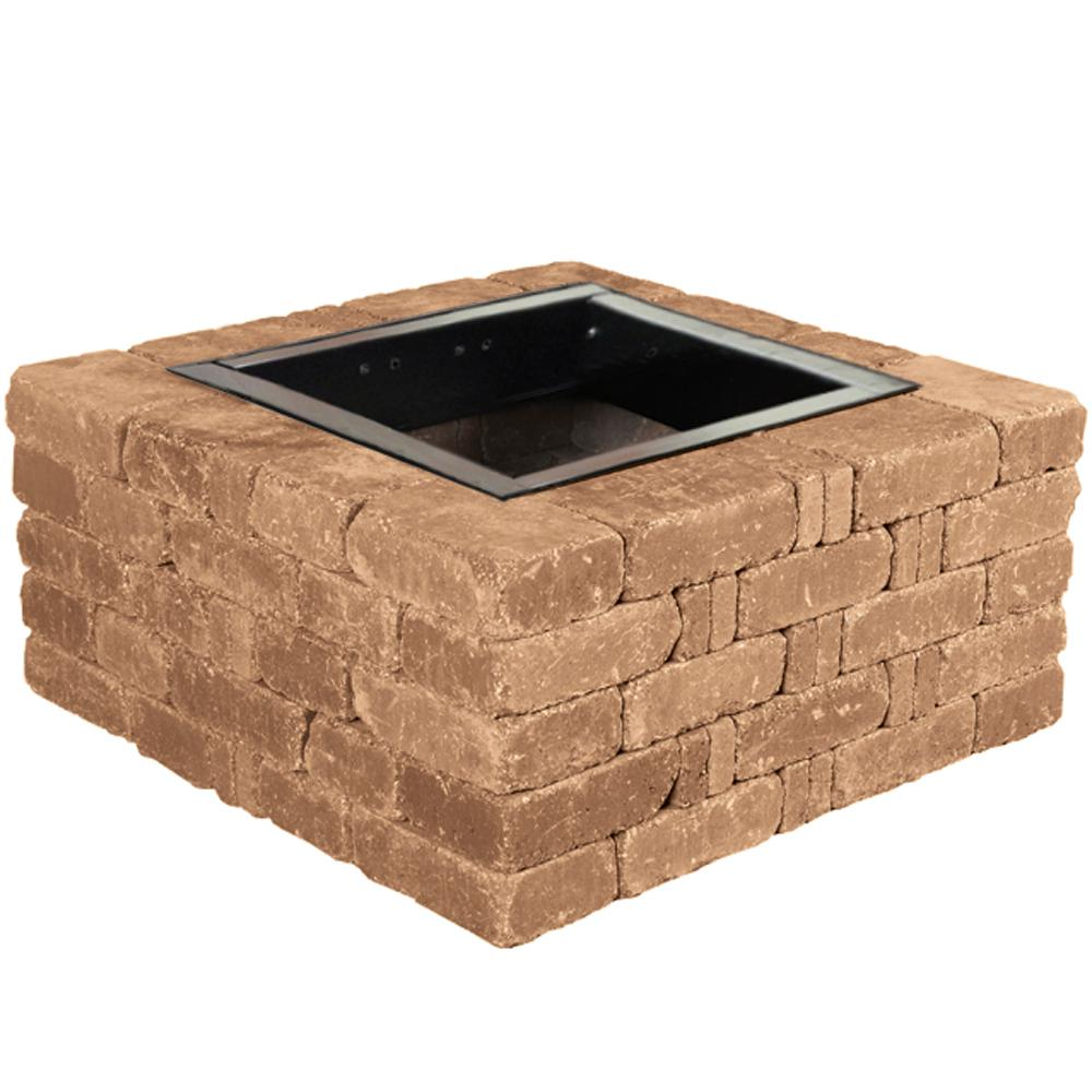 Pavestone RumbleStone 38.5 in. x 17.5 in. Square Concrete Fire Pit Kit No. 6 in Sierra Blend