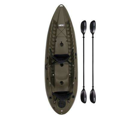 OD Green Sport Fisher Kayak with Paddles and Backrest