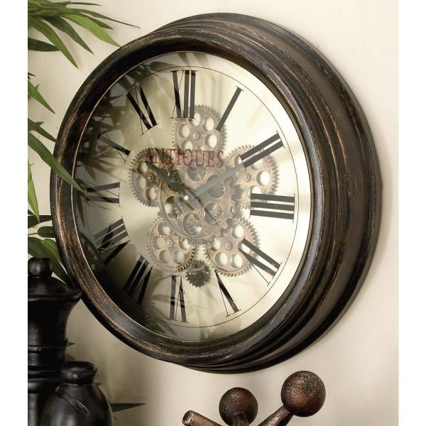 Litton Lane 18 in. Vintage Gear Wall Clock 66974