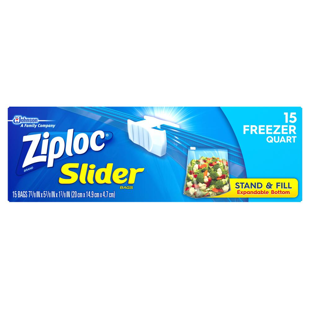 Ziploc 7 in. Quart Plastic Slider Freezer Bag 15-Bag (12-Pack)