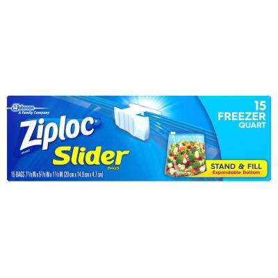 7 in. Quart Plastic Slider Freezer Bag 15-Bag (12-Pack)