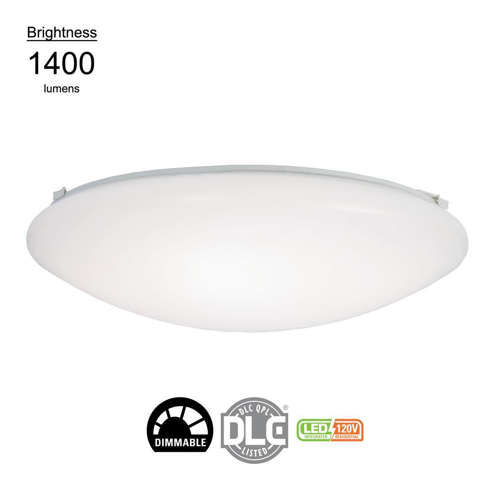 20.2-Watt White Integrated LED Flush Mount, 80CRI 4000K CCT Cool White