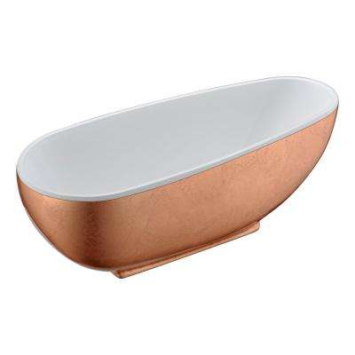 Bishop 5.5 ft. Acrylic Flatbottom Non-Whirlpool Bathtub in Rose Gold