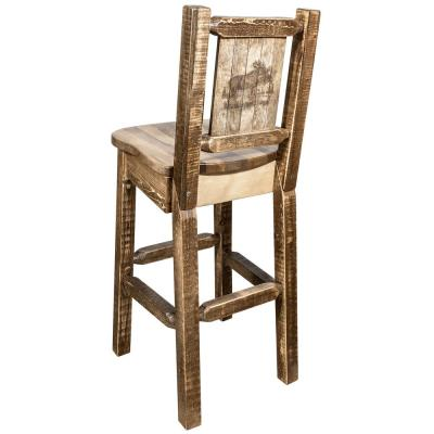 Homestead Collection 30 in. Early American Laser Engraved Moose Motif Bar Stool with Back