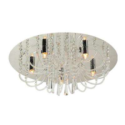 Glam Collection 5-Light Chrome Round Ceiling Fixture with Decorative Crystal Beads