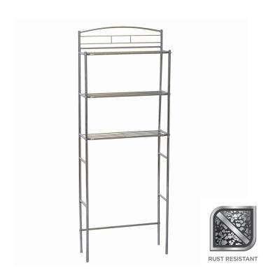 34 in. W x 23 in H x 10 in. D Metal 3-Shelf Over the Toilet Storage Space Saver in Chrome