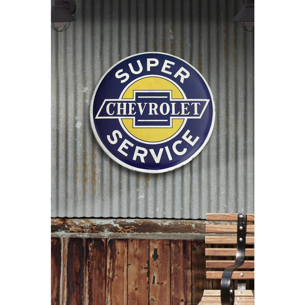 24 In X Chevrolet Super Service Hollow Curved Tin Button Sign