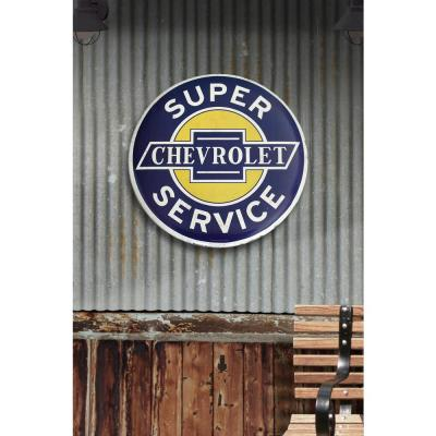 24 in. x 24 in. Chevrolet Super Service Hollow Curved Tin Button Sign