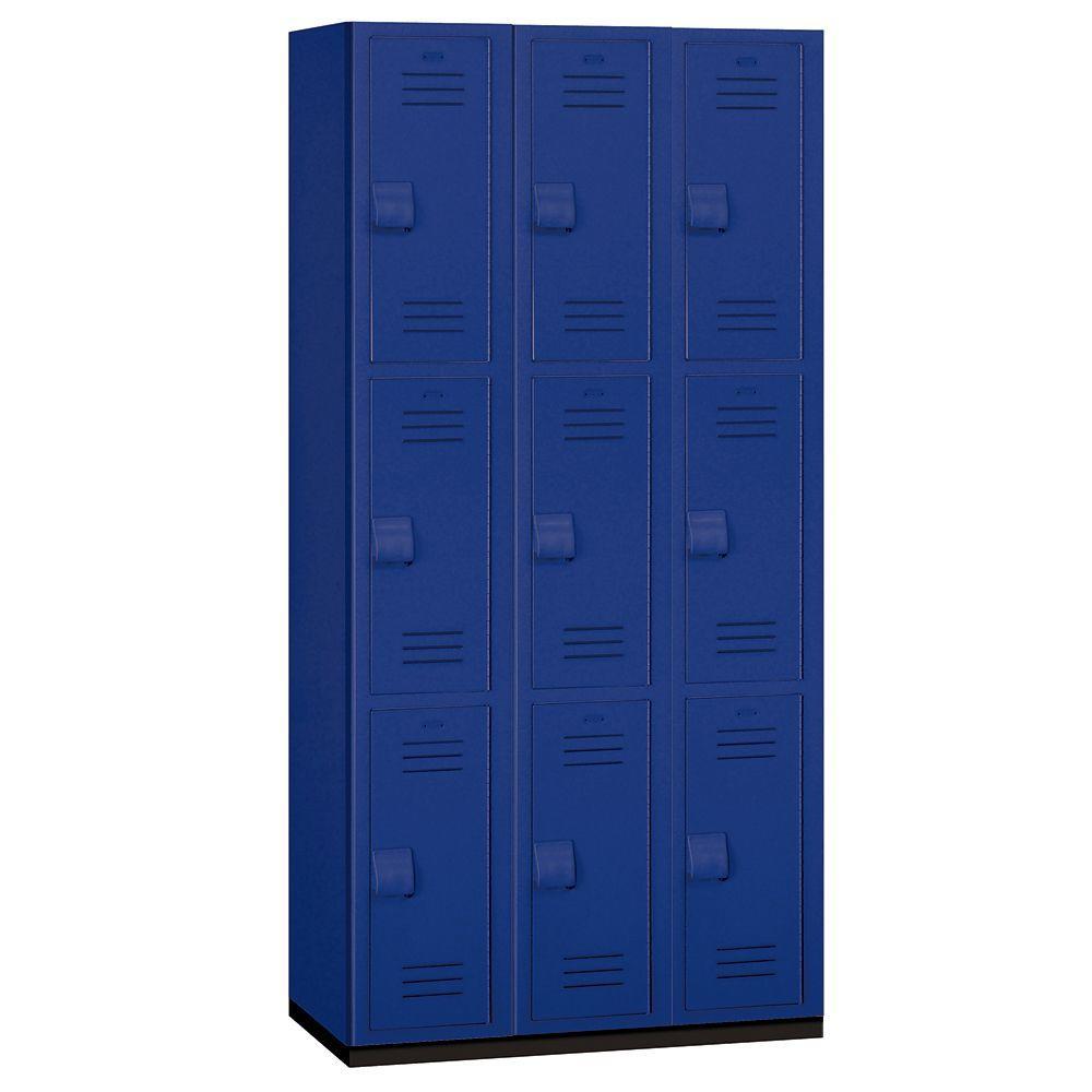 Salsbury Industries 43000 Series 36 in. W x 75 in. H x 18 in. D 3-Tier Heavy Duty Plastic Locker in Blue