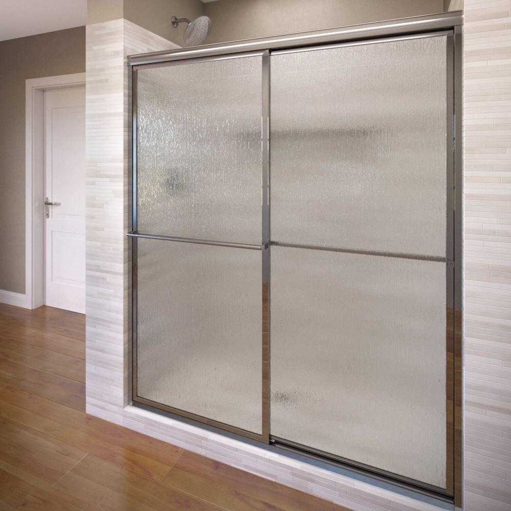 Deluxe 46-1/4 in. x 68 in. Framed Sliding Shower Door in Silver