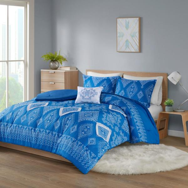 Candice 4-Piece Blue Full/Queen Polyester Printed Comforter Set with Fringe Trim