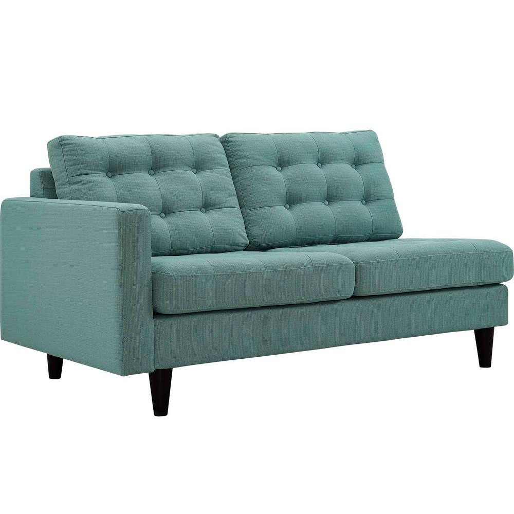 Empress Left-Facing Upholstered Fabric Loveseat in Laguna