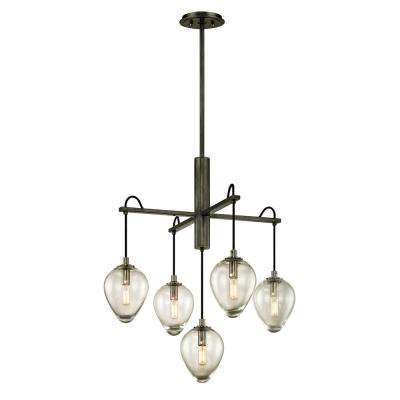 Brixton 5-Light Gunmetal 26 in. W Pendant with Clear Glass