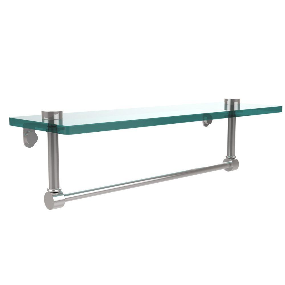 Allied Brass 16 in. L  x 5 in. H  x 5 in. W Clear Glass Vanity Bathroom Shelf with Towel Bar in Polished Chrome