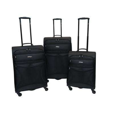 Rebel 3-Piece Black Luggage Set