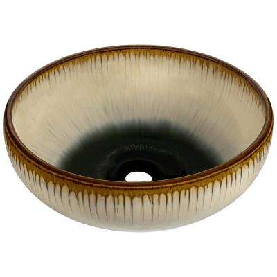 Hand-Thrown Ceramic Vessel Sink in Off-White and Black