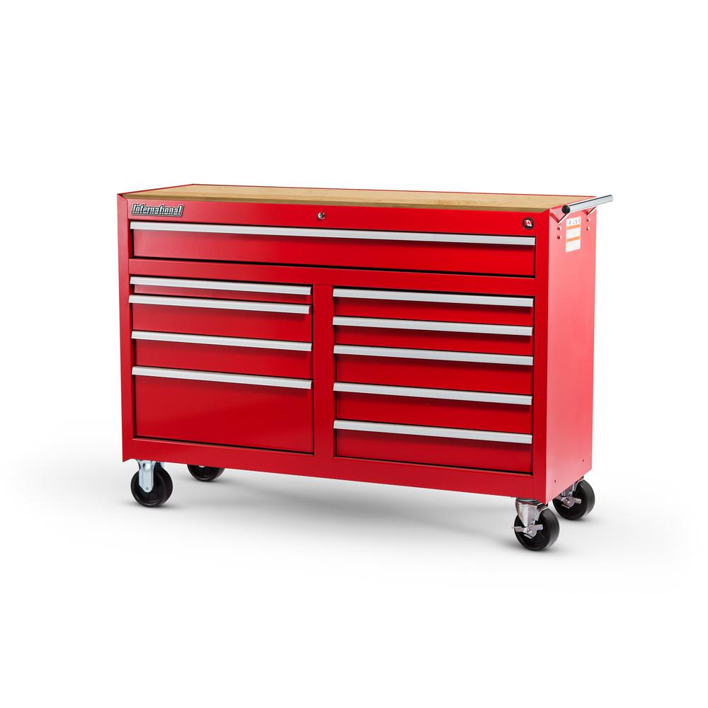 Workshop Series 54 in. 10-Drawer Cabinet with Wood Top, Red