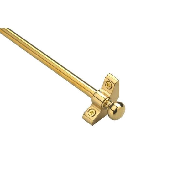 Plated Inspiration Collection Tubular 36 in. x 3/8 in. Polished Brass Finish Stair Rod Set with Round Finials