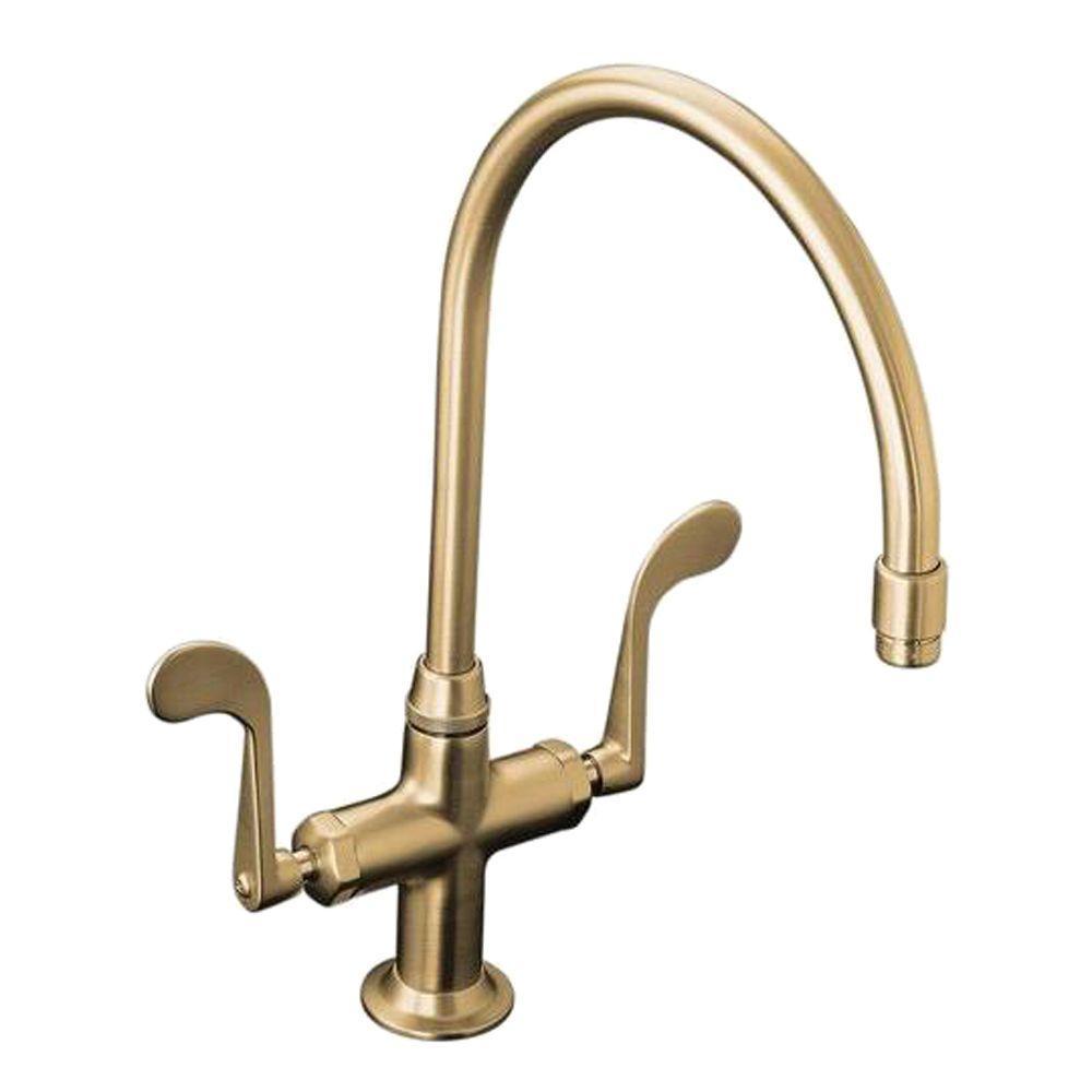 KOHLER Essex Single-Hole 2-Handle Kitchen Faucet in Vibrant Brushed Bronze
